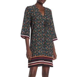 Bobeau floral and stripe trim dress XL